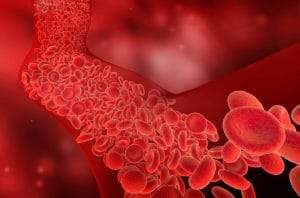animation of red blood cells flowing through a vein
